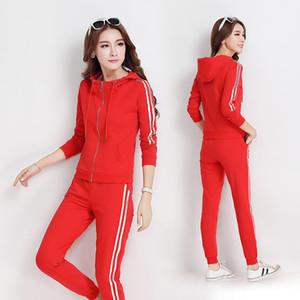 Donne Sportswear vestito di sport autunno Pareggiatore casual Esecuzione Abiti Set Stripe Stampato Zip Up Hoodie Jacket + Tute Sweatpant