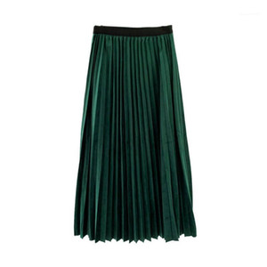 Emprie Vintage High Street Spring AutumnPencil dress Womens Skirts Fashion Sweet Velet Pleated Skirts Natural Color