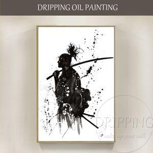 Художник ручной росписью высокого качества японский портрет картина маслом на холсте черно-белые произведения искусства японский изгоев картина маслом