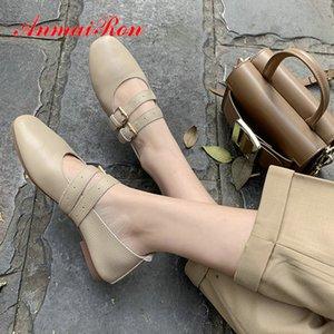 ANMAIRON 2020 punta rotonda della fibbia Low comodo tacco Womens Shoes Vera Pelle Scarpe Mary Jane signore casuali 34-39