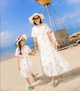 2020 NEW Summer Family Look White Print Chiffon Bohemian Maxi Dresses 2021