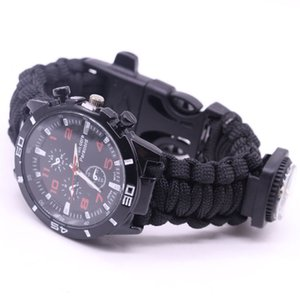 Paracord Survival Watch Bracelets for Men Women Outdoor Compass Bangles Umbrella Rope Knife 6 in 1 Multi-function Bracelets