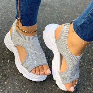 Sandals Woman Casual Shoes Summer Peep Toe Platform Ladies Rhinestone Slip On Women Fabric Plus Size Comfort 2020 Fashion