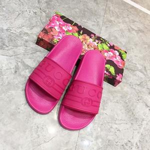 2019 Designer Pantofole Uomo scivolo in gomma Sandali Marca donna Uomo Estate stampa in pelle Infradito Pantofole Nero falt scarpe da spiaggia Pantofola