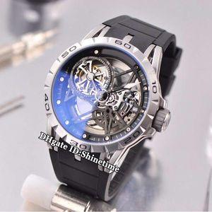 Brand New Excalibur 46 Паук RDDBEX0479 Tourbillon Skeleton набор RD505SQ Автоматическая Мужские часы серебристый корпус черный каучуковый ремешок Спортивные часы