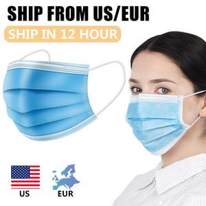 3 Schichten staubfeste Masken Einweg-Gesichtsmaske mit elastischen Ohrringen Einweg-Anti-Staubschutzmaske US-amerikanische Versand