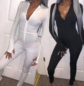 Le donne Skinny tuta Zipper Patchwork fitness Body 2019 Nuova femmina casuale Work Out tutina pagliaccetti C857
