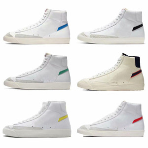 2019 nueva llegada Blazer Mediados 77 zapatos corrientes de la vendimia para las zapatillas de deporte de calidad superior Hombres Mujeres Negro Blanco Alta Formación Ayuda Tamaño 36-44