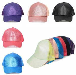 Glitter Snapback Caps Paillettes Baseball Hat Shin Mesh Ponytail Chapeau de boule d'extérieur été Snapback Caps Glitter Sunscreen Hip Hop Chapeaux LSK164