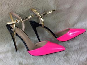 Nuevo tipo 2019 Cusp zapatos de tacón alto para mujeres Sandalias Tacón fino Club nocturno Zapatillas de club nocturno 8cm 12cm 10cm talla grande 44 Fondo rojo