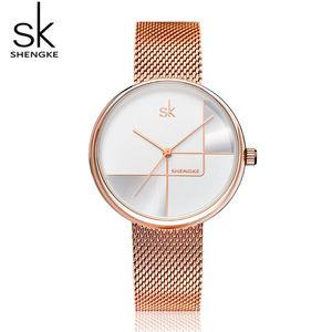 Shengke Ladies Fashion Wrist Watch Rose Gold Bracelet Watches Reloj Mujer 2019 New Luxury Steel Quartz Watch For Women #K0105 CJ191217