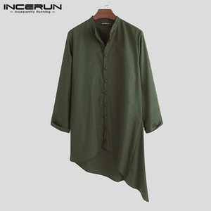 Men's Casual Shirts INCERUN Man Retro Solid Color Loose Irregular Muslim Kaftan Blusas Men Vintage Long Sleeve Stand Collar Tops7
