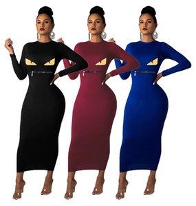 Frauen Normallack Maxi Kleider sexy Augendruck lange Röcke fallen Winterkleidung Reißverschluss lange Hülse Art und Weise dünnen Kleid NWE Ankunft 1716