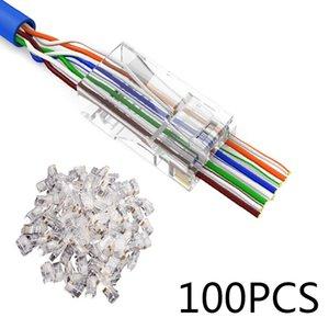 Cabos de computador Escritório Computador Connectors 100Pcs de rede RJ45 modular plug 8P8C CAT5e cabo conector End Pass Through nova