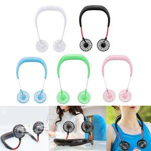 Portable Mini Air Cooling Fans with 1200mAh Battery USB Rechargeable Neckband Lazy Neck Dual Wind Head Adjustable Sport Running Fan