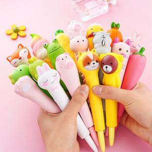 Cute animals Pig Rabbit Bear Squishy pen cap Gel Pen Stationery pencil Slow Rising Soft Squeeze toys Anti Stress Cartoon Decompression Toy