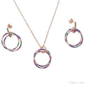 rainbow cz circle earring double wrap circles geometric fashion women jewelry dangling charming women jewelry