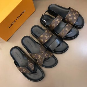 Louis Vuitton slippers Top été femme Sandales homme Chaussures Designer Luxury Diaporama Summer Fashion plat large Slippery Sandales Flip Flop Slipper Canvas Plaine R746