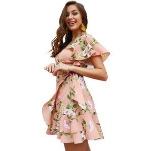 Yaz Kadın Bohemian Mini Elbise Asimetrik Yüksek Bel V-Yaka Flora Baskılı Sashes Ruffles Wrap Elbise Kadın vestidos