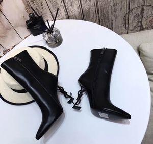 Designeross50 yüksek topuklu Harf topuk gerçek Deri Bilek Boots Kadın Ayakkabı Martin Boots Yeni Sonbahar Kış Uzun Çizme