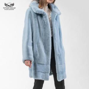 옷깃 칼라 자연 정품 겨울 따뜻한 재킷 긴 모피 코트와 일러스트 Tatyana Furclub 패션 여성 리얼 코트