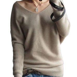 outono inverno suéter de cashmere para as mulheres de moda sexy v-pescoço camisola de manga batwing solta lã camisola plus size S-4XL pullover