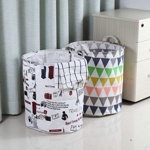 Foldable Laundry Basket Large Capacity Waterproof Durable Cotton Linen Clothes Laundry Basket Hamper Book Storage Organizer Bag