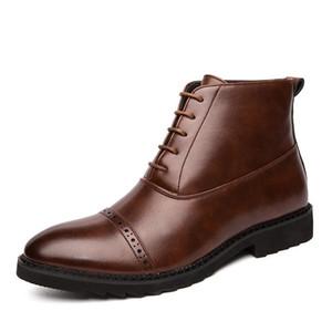 La venta caliente-nuevos hombres botas de cuero genuino de los zapatos ocasionales británica de negocios vestido cargadores del tobillo del tamaño grande de boda Brogue Botas