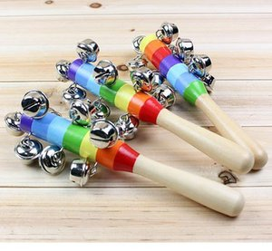 Baby Rainbow Toy kid Pram Crib Handle Wooden Activity Bell Stick Shaker Rattle 100 p l