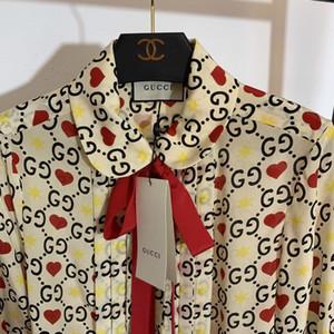 Marke 2019 Shirts Liebesherz-Druck-Bogen-Band-lange Hülsen-Silk Blusenhemd Street Frauen Tops Frauen beiläufige Frau-T-Shirts Kleidung Tt-3