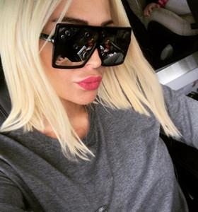 Kadınlar Boy güneş gözlüğü Moda famale Kare Çerçeve Sunglass X Büyük Aynalı Flat Top Güneş Cam AB ABD Tarzı büyük çerçeve Vintage gözlük