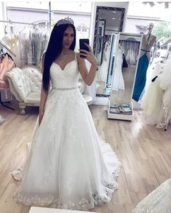 Sexy Spaghetti Straps A Line Lace Wedding Dresses Beaded Waist Appliques Wedding Gowns Country Bride Dresses robe de mariee