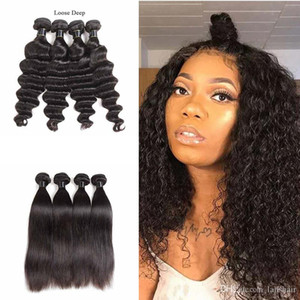 Unprocessed Brazilian Virgin Hair Extensions Loose Deep Human Hair Weave Bundles 3 4 pcs Remy Human Hair Wefts Straight Wholesale In Bulk