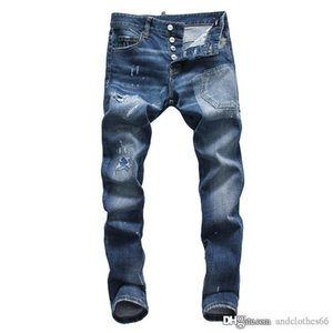 mens designer jeans Fashion Men's Jean High Quality Blue Skinny Fit Spliced Ripped Jeans High Destroyed motorcycle jeans for men