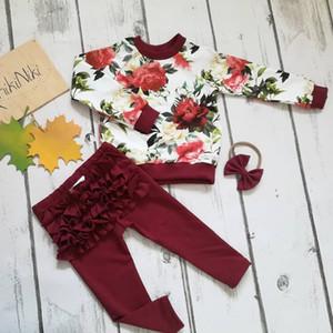 3PCS Neonato Fiore Top + Pantaloni a balze Leggings + Fasce Outfit Abbigliamento 0-24M