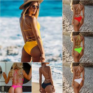 2019 New Woven Solid Color Big Backless Sexy Costume intero Swmmer Liket Bikinx Green Perizoma Biquini High Cut Swimwear Donna