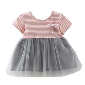 Gril elbise Yaz Rahat Bebek Kız Çizgili Baskı Elbise Pamuk Çocuklar Yürüyor Kısa Kollu