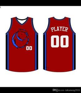 2019 2020 Basketball-Trikots Schnell trockene blaue rote stickerei logos kostenloser versand billig billig großhandel männer größe jersey42