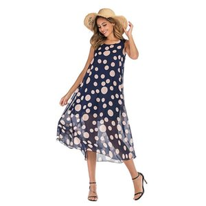 1pc Drop Shipping Service - Womens BIG SIZE Print fabric V-neck Chiffon Strap Dress Loose Style 1color Size M-XL Style Number 8125
