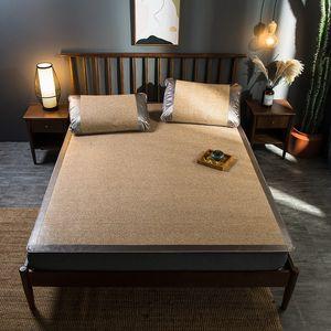 Summer cool Rattan Mat solid Fitted sheet set green Mat bed cover sleeping rubber mat foldable bedspread 3pcs set camel bed set T200703