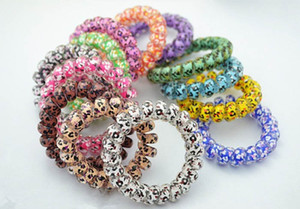 Random Color Leopard Star Dot Hair Rings Telephone Wire Elastics Bobbles Hair Tie Bands Kids Adult Hair Accessories ps0715