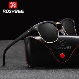Rosybee UV400 gafas de sol polarizadas Hombres Mujeres clásico retro fresco de los vidrios de Sun de revestimiento Hombre que conduce Sombras Moda masculina Oculos NsQiI