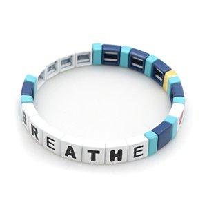 Bricolage Chaîne simple Breathe Bracelet main Alphabet RESPIRER acrylique Perle Bracelet Cadeaux Bracelet Je ne peux pas respirer