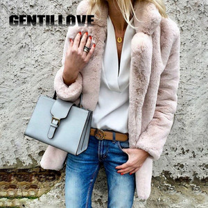Gentillove Mulheres Macio Casaco De Pele Das Senhoras Oversize Jaqueta Casual Outono Inverno Elegante Rosa Quente Macio Outwear Moda Mujer 3XL