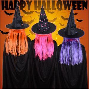 VIERUODIS Halloween Decoração do chapéu do partido Masquerade Props peruca Witch Hat Celebration fantasmas Suprimentos Festival Cosplay Páscoa