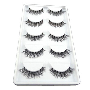 5 Pairs Natural False Eyelash Extension Messy Crisscross False Eyelashes Handmade Full Strip Eyelashes Mink Lashes