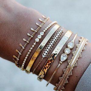 7Pcs Set Bohemian Retro Crystal Arrow Geometry Open Gems Bracelet Set Ladies Jewelry Accessories Party Bangle