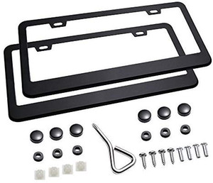 2Pcs 2 Holes Matte Aluminum Black License Plate Frame with Screw Caps Car Licenses Plate Covers Holders for US Vehicles