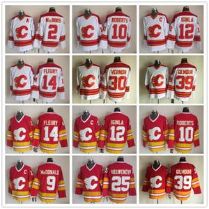 Flames Vintage Calgary Jarome Iginla chandails Theoren fleury Mike Vernon Nieuwendyk Allan MacInnis Lanny McDonald Gary Roberts Doug Gilmour