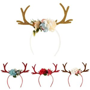 Girls Floral Cute Cartoon Head-wear Kid Christmas Deer Antlers Costume Ear Party Hair Headband Birthday Gift Halloween Wear